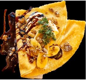 キャラメルナッツとチョコバナナマシュマロ生クリームの画像